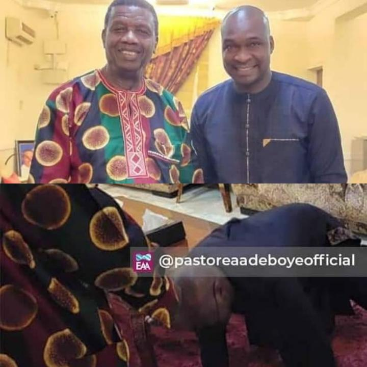 (Photos) Apostle Joshua Selman Postrates Has He Meets With Pastor Adeboye And His Wife At Feast Of Esther 2021