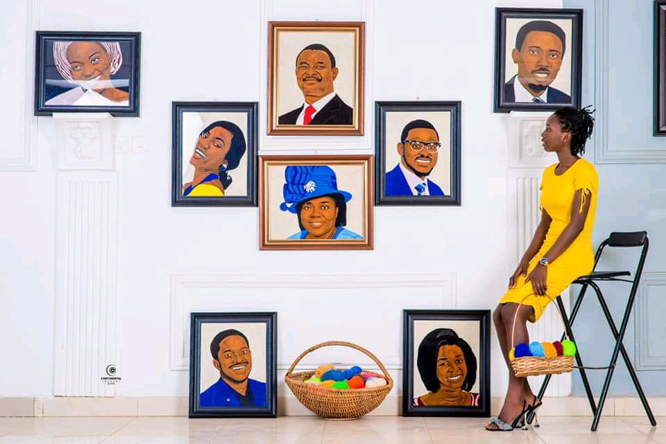PHOTOS: Young Talented  Nigerian Lady Draws Amazing Portraits of Lawrence Oyor And Mike Bamiloye's Family